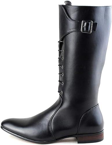 Ruiyue Bottes à Hauteur du Genou de la la Mode européenne, Fermeture à glissière latérale en Cuir PU Lacer Les Chaussures de Combat pour Hommes (Couleur   Noir, Taille   38 EU)  le meilleur service après-vente