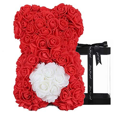 Geschenke für Frauen - Rose Teddybär - Rosenbär, einzigartige Geschenke, Geschenke für Mädchen, Geschenke für Mütter, Geburtstagsgeschenke, Blumenlieferung - Klare Geschenkbox inklusive (red)