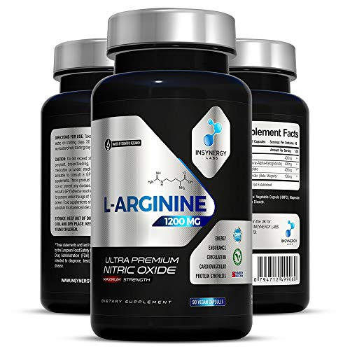 Ultra Premium Nitric Oxide Supplement 1200mg | Highest Strength L Arginine Capsules in The UK | Muscle Growth Circulation Vascularity | Pre-Workout for Men Women | 90 L-Arginine Vegan Capsules