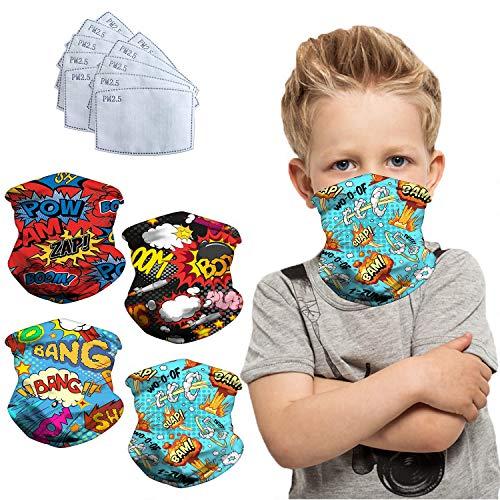 4 Pieces Kids Balaclava Neck Gaiter With Carbon Filters Bandanas, Stylish Neck Gaiter Breathable Bandana Face Mask, Gifts For Boys Girls - Big Bang