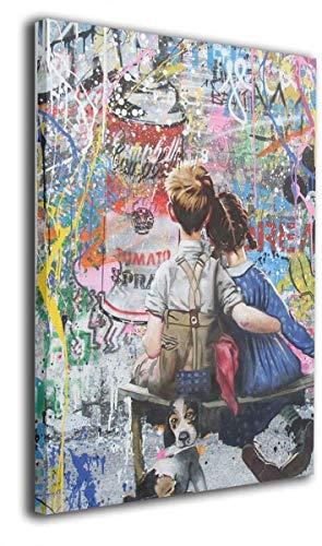 TAMATA Banksy バンクシー アートパネル アートフレーム ウォールアート ポスター インテリア フレーム装飾画 壁掛け 壁飾り 絵 壁画 風水 玄関 40x50cm