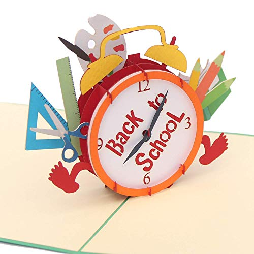 CUTEPOPUP Back to School pop up Card, Graduation pop up card with clock design - for Students, Teachers, Mentors for Day Care, Preschool, Elementary School, Graduation or Back to School