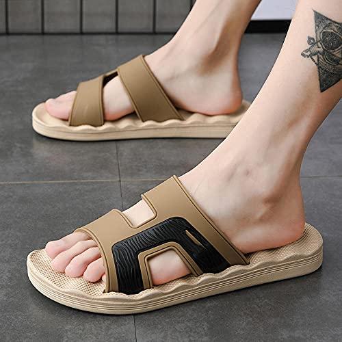 Sandalias para Masaje de acupuntura de pies,Hombres con Pantuflas de Playa afuera, Chanclas de Masaje de Talla Grande-Brown_44,Masaje Zapatillas de Playa Zapatos
