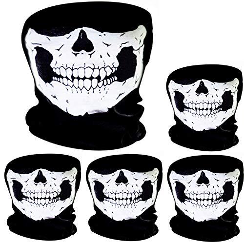 Pangda 5 Stück Schädel Maske Schädel Gesicht Maske Motorrad Fahrrad Halbgesicht Skelett Maske Halloween Outdoor Sport Kopftuch