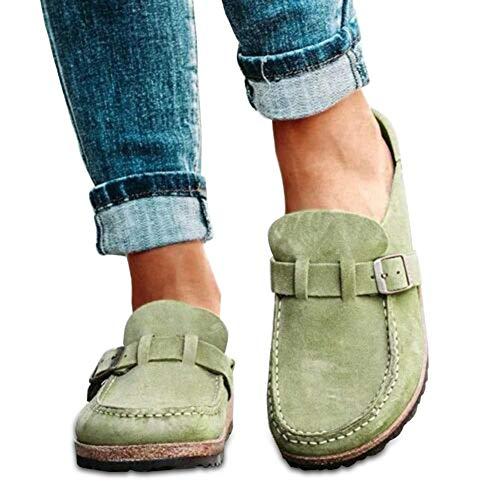 Aemiy - Mocassini da donna, comodi, casual, in pelle scamosciata, per casa, ufficio, Verde (Verde), 37 EU