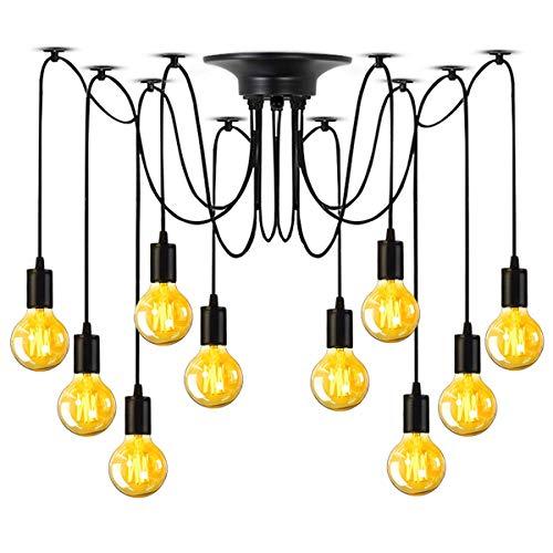 E27 DIY Retro Vintage Industrie Kronleuchter Pendelleuchten Hängelampe Höhenverstellbar (10-flammig) [Energieklasse A+]