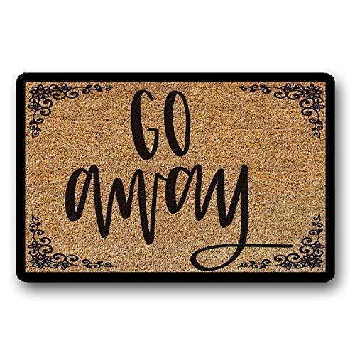 """Go Away Doormat, Funny Doormat,Customized Door mat, Personalized Doormat,Doormats with Sayings,Patriotic Doormat 23.6"""" x 15.149"""" -  vmnbstitch, vmnbstitch-Doormat-200602A-142"""