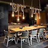 E27 * 3 Head Lámpara de araña Industrial Vintage Lámpara de techo Retro Cuerda Lámpara de techo Bambú Cuerda de cáñamo (03)