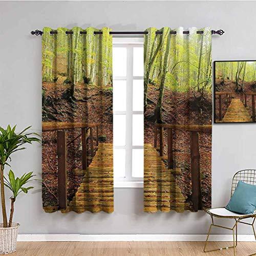 Apartment Decor Collection - Cortina aislada para cortina de baño, diseño de puente de madera sobre río y conduce a un sendero entre abedules, color verde Perú (63 x 45 cm), color verde