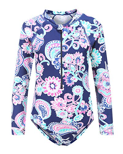 Big Girls One Piece Bathing Suits Long Sleeve Zipper Swimsuits UPF 50+/Sun Protection Rash Guard Size 10