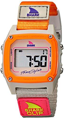 Freestyle Shark Classic - Reloj digital de mujer de cuarzo con correa textil naranja (alarma, cuenta vueltas, luz, cronómetro)
