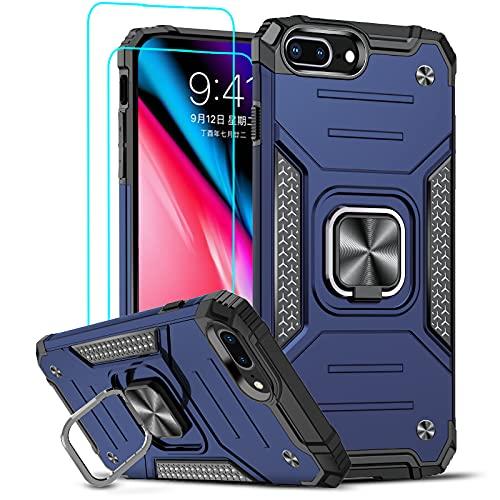 LeYi Funda para iPhone 6 Plus/iPhone 7 Plus/iPhone 8 Plus Armor Carcasa con [2 Unidades] Cristal Templado, Cover con 360 Grados Magnetic Anillo Hard PC y Silicona TPU Bumper antigolpes,Azul