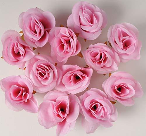 Artif-deco - Tetes de rose artificielle x 12 rose tendre d 4 50 cm pour boule de rose