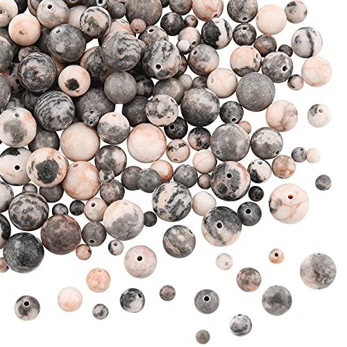 OLYCRAFT Cuentas de Piedra de Jaspe de Cebra Rosa Natural de 4 hebras, 8mm/6mm/10mm/4mm, Piedras Preciosas Redondas, Cuentas Sueltas, Piedra de energía de Cristal para Hacer Joyas de Bricolaje