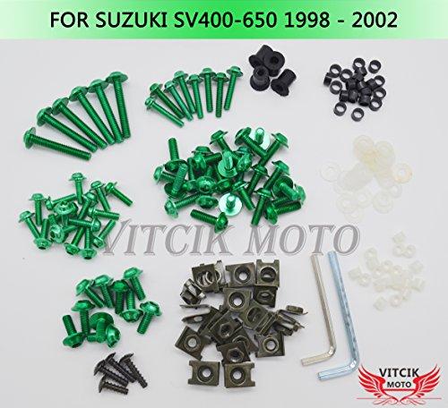 VITCIK Kit Completo de Tornillos y Pernos de Carenado para Suzuki SV400 650 1998 1999 2000 2001 2002 SV 400 650 98 99 00 01 02 Clips de Sujeción en Aluminio CNC de La Motocicleta (Verde)