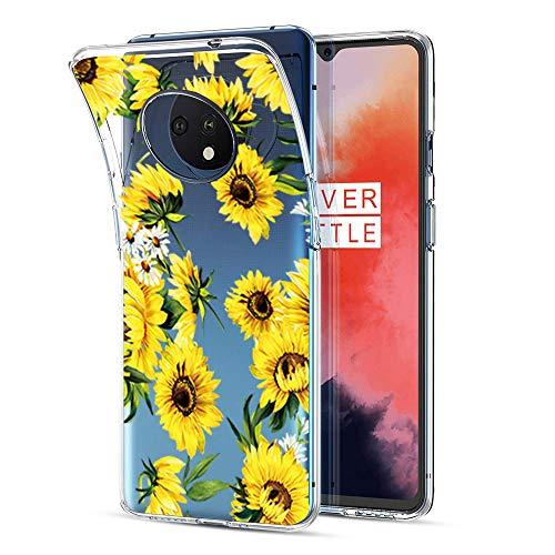 Kompatible für Handyhülle OnePlus 7T Hülle - Silikon Blumen Muster Case Cover Durchsichtig Tasche Dünn Schutzhülle Handytasche Skin Softcase Schale Bumper TPU Handycover-7