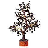 FASHIONZAADI Black Tourmaline Crystal Tree Natural Bonsai Gemstone Money Trees Good For Home Office Table Décor Crystals Size 10-12 Inch (Golden Wire)