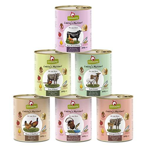 GranataPet Liebling's Mahlzeit Multipack 2, Nassfutter für Hunde, Hundefutter ohne Getreide & ohne Zuckerzusätze, Alleinfuttermittel, 6 x 800 g