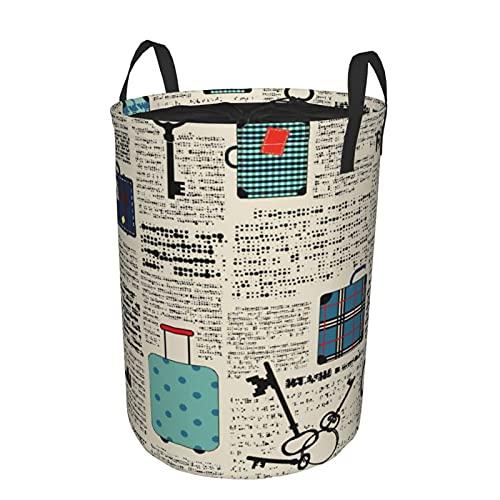 Cesto de lavandería redondo Grande con asas,estilo retro,viaje,tema vaion,maletas vintage,llaves,texto de puntos,cordón,cesto de lavandería plegable,impermeable,19'X14'
