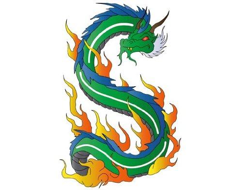 Fenstersticker No.339 Dragon of Fire tiere drachen feuer magisch china Fenstersticker Fensterfolie Fenstertattoo Fensterbild Fenster-Deko Fensteraufkleber Fensterdekoration Glas-Sticker Größe: 46cm x 30cm