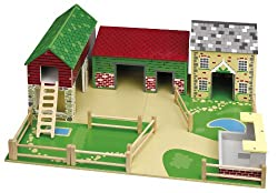 The busy Oldfield Farm includes a barn with loft & ladder, an animal shed & farmhouse. Plus, a pigsty, fences and wooden play base! The roof panels attach with magnets. Encourages imaginative play. Made from high quality, responsibly sourced material...