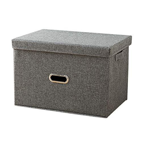 EZSTAX Aufbewahrungsbox Stoffkiste Ablagebox Schlafzimmer Accessoire-Organizer Aufbewahrungskasten mit Deckel,Grau 2#,XXL