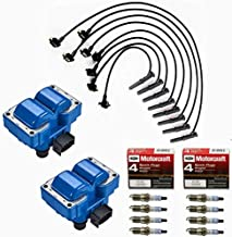 MCK 2 pcs High Performance Ignition Coil Pack Tune Up Kit + 8 Platinum Spark Plug & Wire Set Compatible With Mazda Mercury Ford Lincoln Mustang 90-03 L4 V8 1.9L 2.0L 2.3L 2.5L 4.6L 4.8L 5.0L FD487