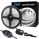 CGN Dimmable LED Strip Light Kit, 5M Daylight White Strip Lighting, IP65 Waterproof