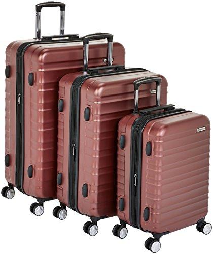 AmazonBasics - Trolley rigido premium, con rotelle pivotanti e lucchetto TSA integrato, Set da 3 pezzi (55 cm, 68 cm, 78 cm), Rosso