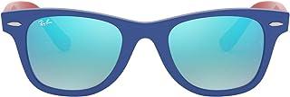 Ray-Ban Junior Kids' 0rj9066s7039b747junior Wayfarer Non-Polarized Iridium Square Sunglasses, Blue, 47 mm