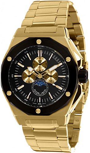 Louis XVI Le Souverain - Reloj de pulsera para hombre con correa de acero, fabricado en Suiza, fase lunar, analógico, mecanismo de cuarzo, acero inoxidable 626, color dorado y negro