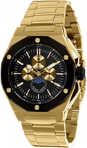 LOUIS XVI Herren-Armbanduhr Le Souverain Stahlband Gold Schwarz Mondphase Analog Quarz Edelstahl 626