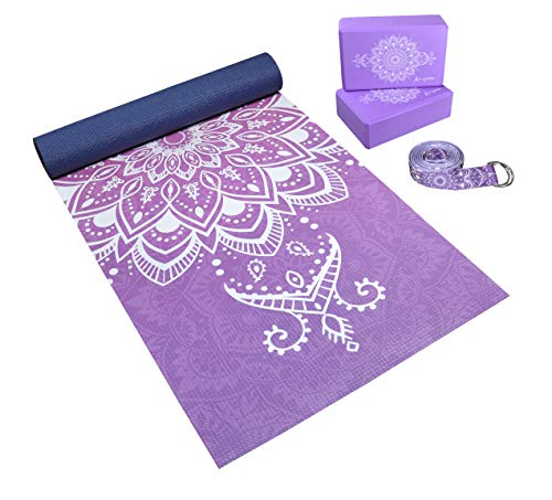 Complete 4 Piece Yoga Set | Unique All-Over Mandala Print | Eco-Friendly, Non-Toxic Yoga Kit | 6mm Yoga Mat | 2 Foam Blocks | 8 ft. Strap | Yoga Starter Kit | Yoga Gift Set for Beginners