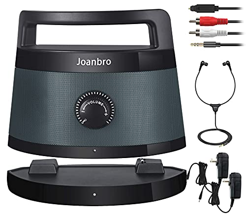 Joanbro TS1D 2.4GHz Portable Wireless Speakers for TV for Seniors and Hard of Hearing, Optical/RCA/AUX Supported, Voice Highlighting and Tone Control, 100ft Long Range TV Speaker
