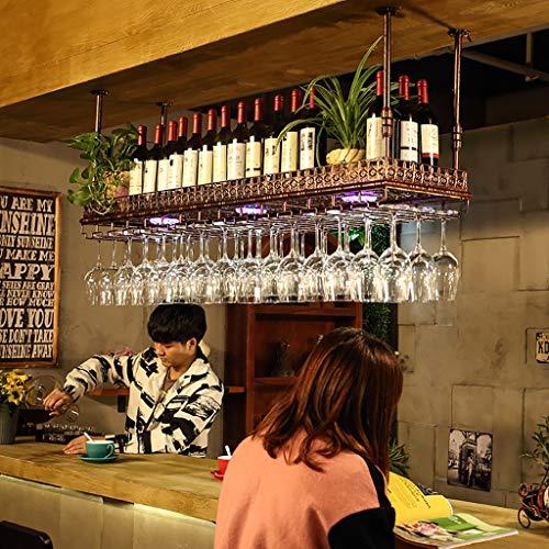 ZFF Wine rack Vinoteca Vitrina, Barra Bar mostrador de Hierro Forjado Estante Techo Copa de Vino Colgante Colgando Boca Abajo botellero 60/80/100 / 120cm (Color : B, Tamaño : 100 * 35cm)