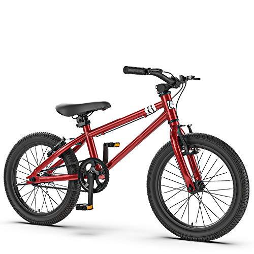 Cochecito De Bicicleta De Montaña Con Pedal Para Niños, Bicicletas Con Asiento Ajustable Para Bicicletas De Montaña Con Ruedas De Entrenamiento Extraíbles, Bicicleta De Llanta De Acero,Rojo,20 Inches