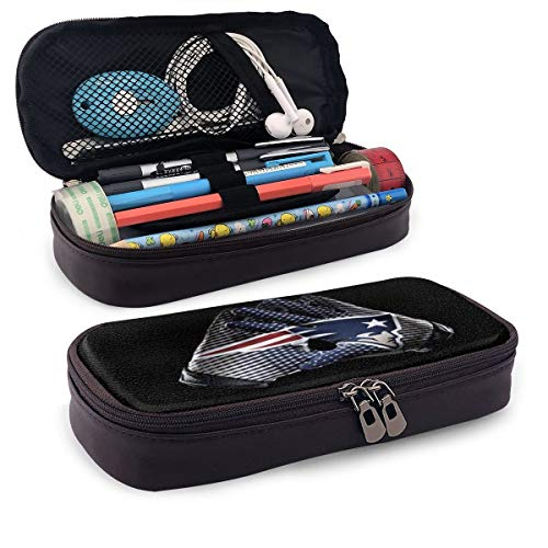 New England Patriots Leather Pencil Case with Pen Holder, Large Capacity Stationery, Cosmetic Bag, Bluetooth Headset, School Supplies, Male and Female Students Black