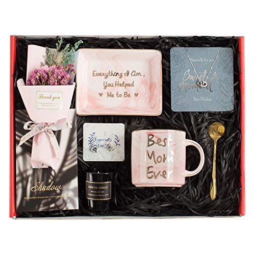 Gifts for Mom  Mom Gifts Set Includes Sterling Silver Necklace,Earrings Pink Marble Jewelry TraysPink Marble Mug Scented Candle and Flower – Best Mother#039s Day Birthday Gift Set