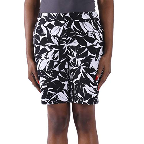 Kelly KLARK Women's Golf Shorts Pockets, Fashion Comfy Walking Shorts Plus Large (Black White Floral,Size 16)