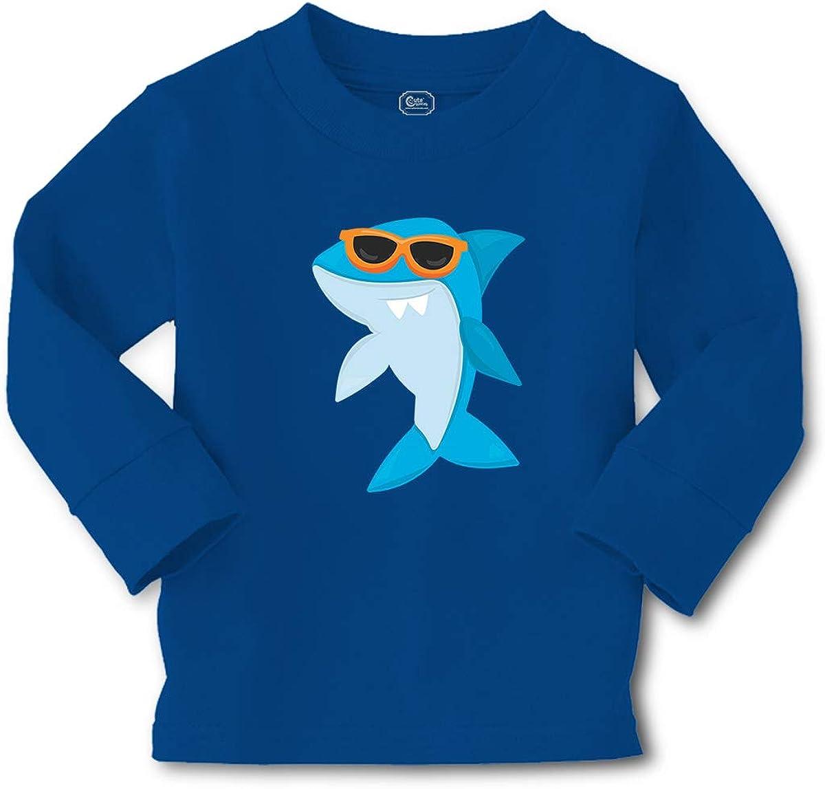 Custom Kids Long Sleeve T Shirt Shark Glasses Cotton Boy & Girl Clothes