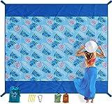 Belle Ciel Beach Blanket Sandproof, Waterproof Picnic Blankets, Large 79''×83'' for 4-6 Adults Beach Mat, Lightweight Outdoor Blanket, Family Beach Picnic Mat, Designer Collection(Blue)