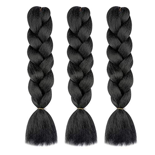 MY LIKE Braiding Hair Kanekalon Braiding Hair Synthetic Hair Extensions for Braiding Crochet Twist Box Braids 24 Inch Natural Black Jumbo Braid Hair (100g/pc, 3 pcs/Lot)