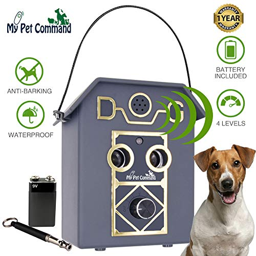 My Pet Command 50Ft Long Range Anti Barking Device, Auto Ultrasonic Dog Bark Deterrent, Dual Speaker Waterproof Outdoor Indoor use Adjustable Ultrasonic Level Control, Bonus Training Whistle