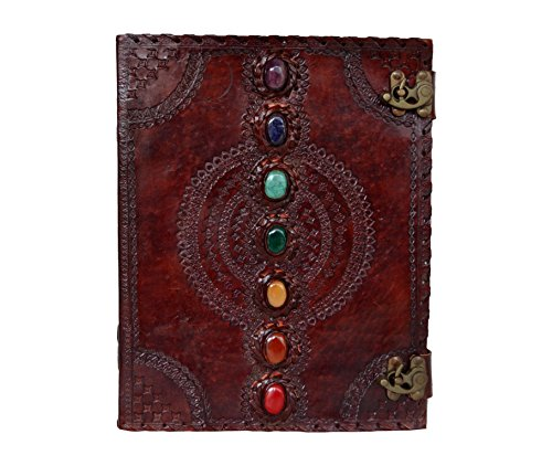 PRASTARA Leather Journal Seven Chakra Medieval Stone Embossed Handmade Book of Shadows Notebook Office Diary College Book Poetry Book Sketch Book 10 x 13 Inches