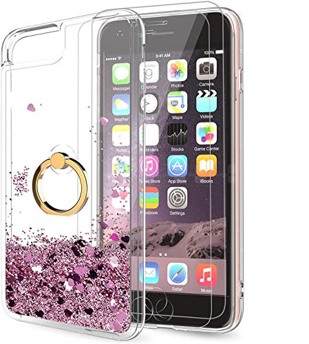 LeYi Compatible for iPhone SE 2020 Case, iPhone 6s/6/7/8 Case with Tempered Glass Screen Protector for Girls Women, Glitter Quicksand Clear Phone Case with Kickstand for iPhone 6/6s/7/8, Rose Gold