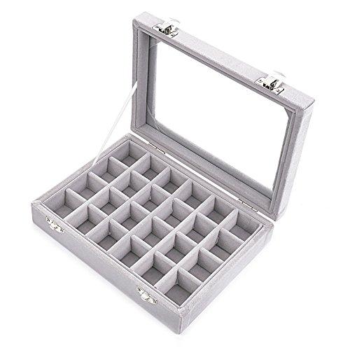 Zice - Joyero con funda de terciopelo y 24 huecos para anillos y pendientes y tapa con pantalla de cristal