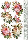 Calambour Papel de arroz Rosas Blancas y Puntilla 23x31cm. Ref. 016
