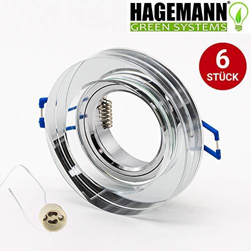 HAGEMANN® 6 Stück GU10 MR 16 Einbaurahmen Glas rund mit Fassung – Einbauspot klares Kristallglas flach - Rahmen aus Klarglas