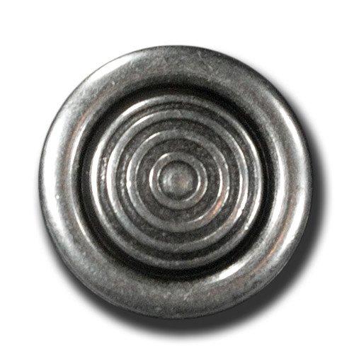 Knopfparadies - 5er Set Knöpfe mit Öse, reliefartigem Kreismuster und Wulstrand/Metallknöpfe/altsilberfarben, geschwärzt/Metall/Ø ca. 15mm