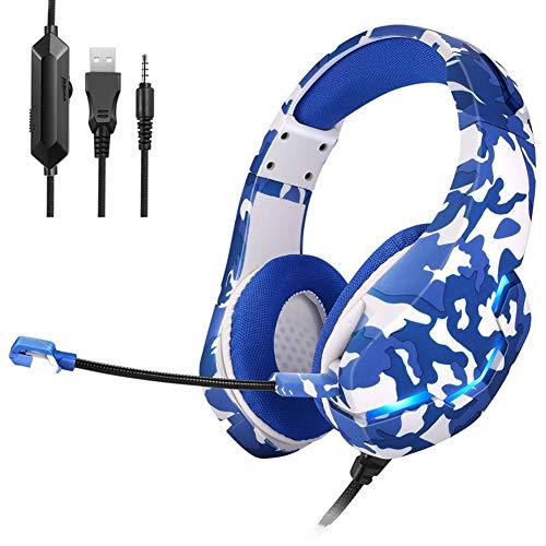 Gaming-Headset, kabelgebunden, Over-Ear-Kopfhörer, RGB-Licht, LED, professionell, PS4, mit Mikrofon, 3,5 mm, Headset für Laptop, Tablet, Smartphone, Blau